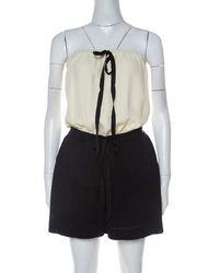 Chanel Monochrome Linen And Silk Strapless Romper M - Black