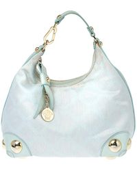 Versace Light Turquoise Signature Canvas And Leather Small Studded Hobo - Blue