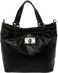 Marc By Marc Jacobs Black Crinkled Leather Tote