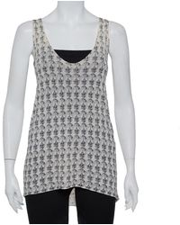 Zadig & Voltaire - Cream Scull Printed Joss Linen Knit Tank Top - Lyst