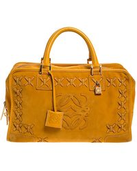 Loewe Yellow Leather And Suede Amazona 36 Tote