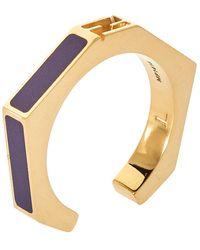 Fendi Purple Gold Tone Baguette Ring
