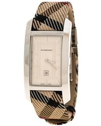 Burberry - Silver White Stainless Steel Heritage Bu1050 Women's Wristwatch 25 Mm - Lyst