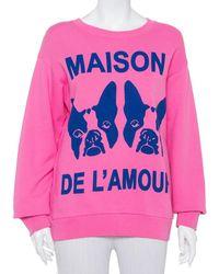 Gucci Pink Maison De L'amour Bosco And Orso Printed Cotton Sweatshirt