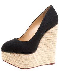 Charlotte Olympia - Canvas Carmen Espadrille Platform Wedge Court Shoes - Lyst