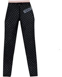 Gucci Black Logo Embroidered Tulle Sheer Leggings
