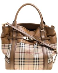 Burberry -  tan Haymarket Check Canvas And Leather Medium Golderton Tote -  Lyst 113a70234c44e