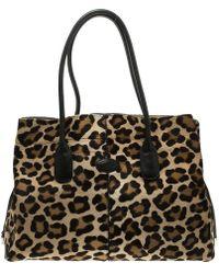 c83d7f08e754 Lyst - Ferragamo Brown Leopard Print Calf Hair And Suede  fiamma ...