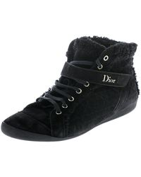 Dior Black Suede And Wool Trim Lace Up High Top Trainers Size 41
