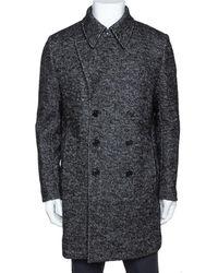 Saint Laurent Monochrome Chevron Tweed Double Breasted Pea Coat - Grey