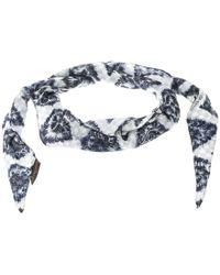 Louis Vuitton - Blue Ikat Printed Silk Diamond Scarf - Lyst