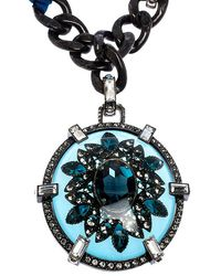 Lanvin Two Tone Chain Crystal Embellished Cabochon Pendant Ribbon Necklace - Blue