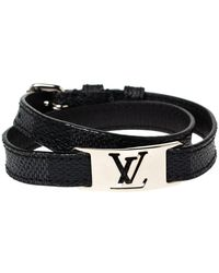 Louis Vuitton Damier Graphite Silver Tone Sign It Wrap Bracelet - Black