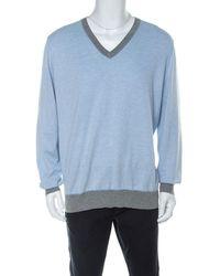 Brunello Cucinelli Light Blue Cotton V Neck Jumper