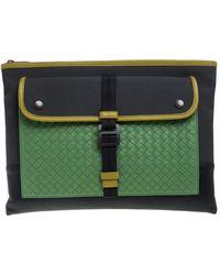 Bottega Veneta Multicolour Intrecciato Leather And Canvas Front Pocket Zip Clutch - Green
