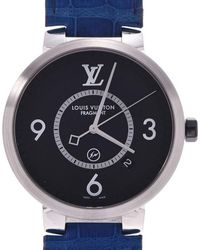Louis Vuitton Black Stainless Steel And Leather Tambour Q1dm1 Men's Wristwatch 39mm