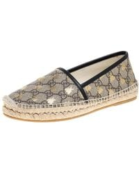 Gucci Beige/black Coated Canvas And Leather Bee Espadrilles - Natural