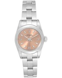 Rolex Salmon Stainless Steel Oyster Perpetual Nondate 67180 Women's Wristwatch 24 Mm - Pink