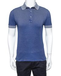 Tom Ford Navy Blue Pique Knit Polo T Shirt