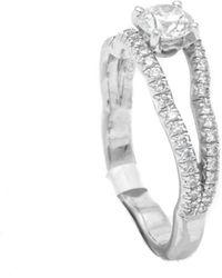 Chanel Camelia 18k White Gold Diamonds Ring Size 53 Gia Certificate - Metallic