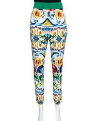 Dolce & Gabbana Majolica Printed Silk Elasticized Waist Skinny Pants - Blue