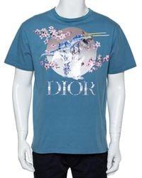 Dior Homme Blue Cotton Metallic Sorayama Floral Logo Crewneck T-shirt