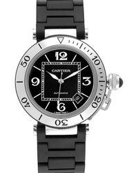 Cartier Black Stainless Steel Pasha Seatimer W31077u2 Wristwatch 40.5 Mm