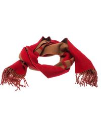 Louis Vuitton - Red And Camel Cashmere Fringe Trim Baroda Scarf - Lyst