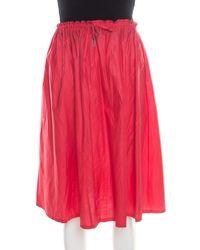 Jil Sander Red Lightweight Cotton Drawstring Waist Gathered Skirt M