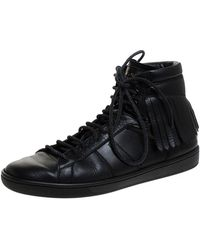 Saint Laurent Black Leather Court Fringe Trainers