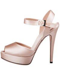 Giambattista Valli Beige Satin Kirna Peep Toe Ankle Strap Platform Sandals - Natural