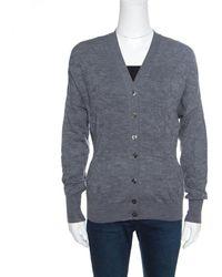 Louis Vuitton Grey Wool Floral Jacquard Knit Cardigan