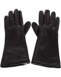 Burberry Black Leather Short Gloves