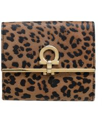 Ferragamo Leopard Print Leather Gancio Bit Compact Wallet - Brown