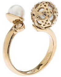 Dior Cannage Faux Pearl Crystal Gold Tone Open Ring Size 51 - Metallic