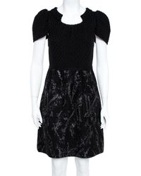 Chanel Black Wool Knit Coated Paint Detail A-line Dress