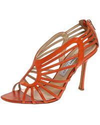 Jimmy Choo Orange Leather Strappy Open Toe Sandals