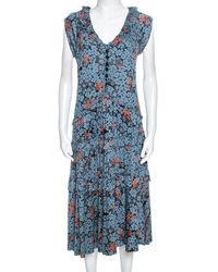 Marc By Marc Jacobs Teal Blue Floral Printed Modal Ruffle Detail Dress