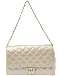 Chanel Light Gold Quilted Leather Chain Clutch Flap Bag - Metallic