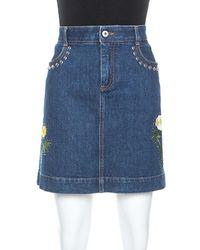 Stella McCartney Blue Denim Embroidered Embellished Short Skirt