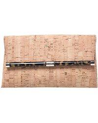 Diane von Furstenberg Beige Cork Fabric Envelope Clutch - Natural