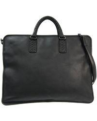 Bottega Veneta Black Leather And Intrecciato Handle Briefcase