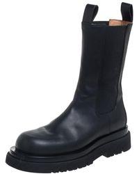 Bottega Veneta Black Leather Storm Chelsea Mid Calf Boots