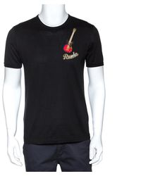 Dolce & Gabbana Black Rumba Guitar Appliqued Cotton T-shirt