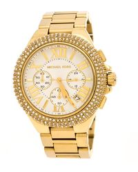 Michael Kors - White Yellow Gold Plated Stainless Steel Bradshaw Mk5657 Women's Wristwatch 45 Mm - Lyst