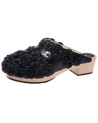 Chanel Metallic Black Camellia Embellished Cc Lock Wooden Clogs Size 40.5