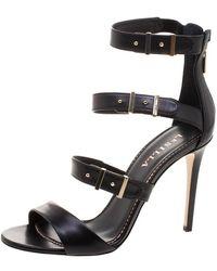 Le Silla Black Leather Minerva Strappy Sandals