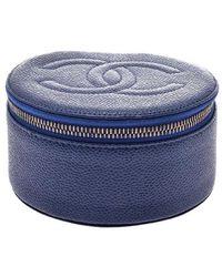 Chanel Blue Caviar Skin Leather Jewellery Case