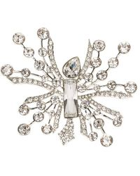 Oscar de la Renta Abstract Crystal Silver Tone Brooch - Metallic