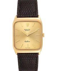 Rolex Champagne 18k Yellow Gold Cellini Vintage 4027 Wristwatch 26 X 34 Mm - Metallic